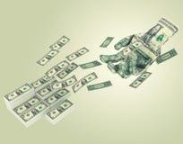 A mão do origâmi alcança para a rendição do dinheiro 3D Foto de Stock Royalty Free