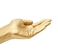 Mão do ouro Fotografia de Stock Royalty Free