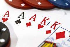 Mão do póquer de uma casa cheia Fotografia de Stock