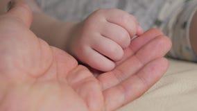Mão do pai e do bebê vídeos de arquivo