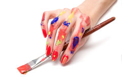 Mão do pintor Imagens de Stock