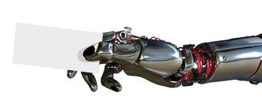 Mão do robô com cartão ilustração do vetor
