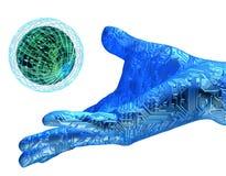 Mão do robô da terra arrendada de Digitas Imagens de Stock Royalty Free