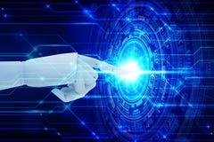 Mão do robô que toca na tecnologia da tela virtual, conceito da tecnologia de inteligência artificial imagens de stock