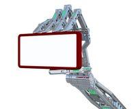 Mão do robô e o telefone Fotografia de Stock