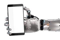 Mão do robô que guarda o telefone celular da tela vazia ilustração do vetor