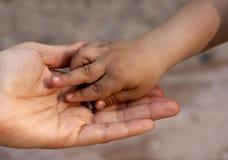 Mão do `s da criança na mão do `s da matriz Fotos de Stock Royalty Free