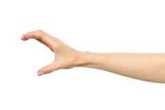 Mão do ` s da mulher que agarra ou que mede algo fotografia de stock royalty free