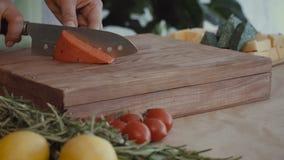 Mão do ` s da mulher que corta o queijo saboroso a bordo filme