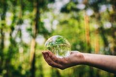 Mão do ` s da mulher que guarda uma esfera de vidro nas madeiras Foto de Stock