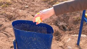 A mão do ` s das mulheres joga a limpeza do mandarino na urna no parque da cidade video estoque