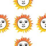 Mão do teste padrão do sol do tarô tirada Vermelho alaranjado no branco Foto de Stock