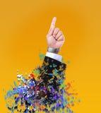 Mão do uso do homem do líder para o tema do negócio ou de múltiplos propósitos foto de stock royalty free