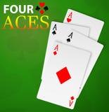 Mão do vencedor de quatro cartões do pôquer dos áss Imagens de Stock