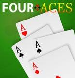 Mão do vencedor de quatro cartões do pôquer dos áss Foto de Stock
