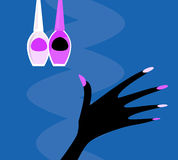 Mão do vetor com jogo de manicure ilustração do vetor