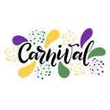 Mão do vetor tirada rotulando a ilustração eps10 para o carnaval do carnaval ilustração stock