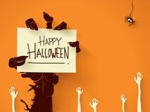 Mão do zombi com cartão Foto de Stock