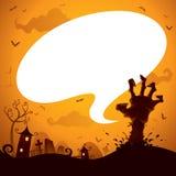 Mão do zombi de Dia das Bruxas com bolha do discurso Imagem de Stock Royalty Free