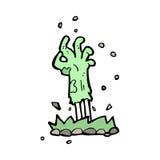 mão do zombi dos desenhos animados que aumenta da terra Fotografia de Stock Royalty Free
