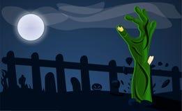 Mão do zombi do fundo à terra do conceito, estilo dos desenhos animados ilustração stock