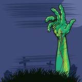 Mão do zombi que vem para fora a ilustração à terra Foto de Stock