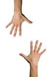 Mão dois aberta imagens de stock