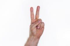 Mão, dois dedos Fotografia de Stock