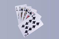 Mão dos cartões de jogo do resplendor real do pôquer Fotos de Stock Royalty Free