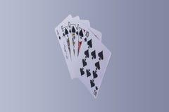 Mão dos cartões de jogo do resplendor real do pôquer Imagens de Stock