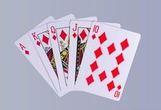 Mão dos cartões de jogo do resplendor real do pôquer Imagem de Stock