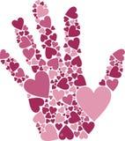 Mão dos corações Fotos de Stock