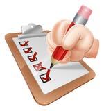 Mão dos desenhos animados e prancheta da avaliação Fotos de Stock