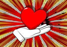 Mão dos desenhos animados que mostra o coração vermelho ilustração do vetor