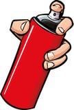 Mão dos desenhos animados que prende uma lata de pulverizador Fotografia de Stock