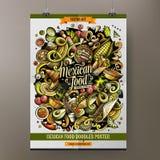 A mão dos desenhos animados tirada rabisca o projeto mexicano do cartaz do alimento ilustração do vetor
