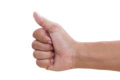 A mão dos homens faz os polegares acima Fotos de Stock Royalty Free