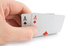 Mão e ás Imagem de Stock