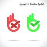Mão e ícone moderno da marca de verificação Ícones errados e direitos da marca de verificação Fotografia de Stock