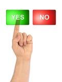 Mão e botões sim/não Imagem de Stock