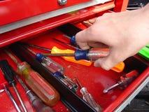 Mão e chave de fenda Imagens de Stock