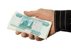 Mão e dinheiro Imagens de Stock