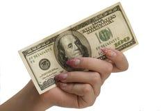 Mão e dinheiro Foto de Stock