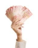 Mão e dinheiro da terra arrendada de braços Fotos de Stock