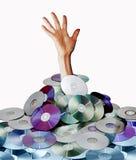 Mão e discos fotografia de stock royalty free