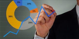 Mão e gráfico masculinos fotos de stock royalty free