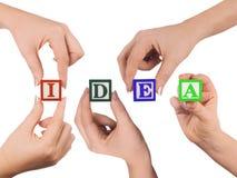 Mão e idéia da palavra Fotografia de Stock