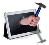 Mão e martelo Foto de Stock