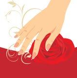 A mão e o vermelho fêmeas levantaram-se ilustração stock