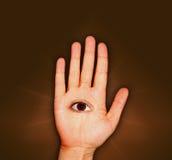 Mão e olho Fotos de Stock